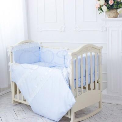 Комплект в детскую кроватку 6 предметов «Принц» голубой