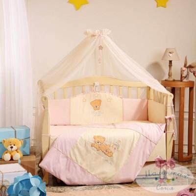 Комплект в кроватку с балдахином 7 предметов «Tiny Love» розовый