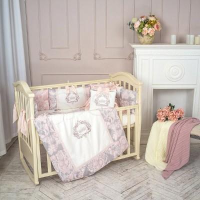 Комплект в детскую кроватку 6 предметов «Fiori» розовый