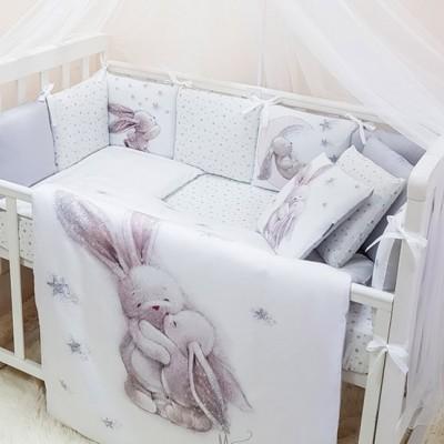 Комплект в детскую кроватку 6 предметов «Magic Зайка» серебро