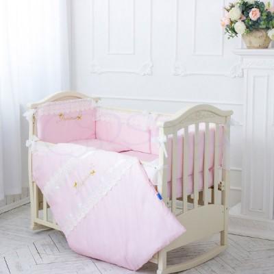 Комплект в детскую кроватку 6 предметов «Принцесса» розовый