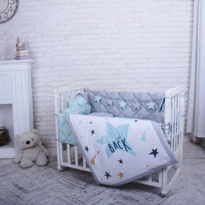 Комплект в детскую кроватку 5 предметов «Stich» мята