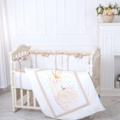 Комплект в детскую кроватку 6 предметов «Flamingo» бежевый