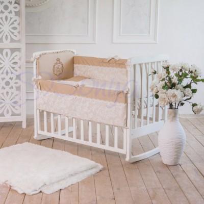 Комплект в детскую кроватку 6 предметов «Family Kingdom» кофейный