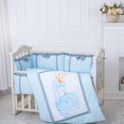 Комплект в детскую кроватку 6 предметов «Flamingo» голубой