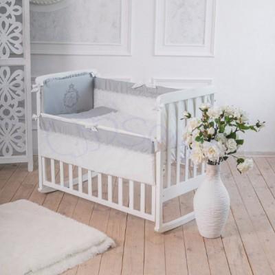 Комплект в детскую кроватку 6 предметов «Family Kingdom» серый