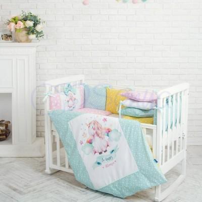 Комплект в детскую кроватку 6 предметов «Akvarel Единорог»
