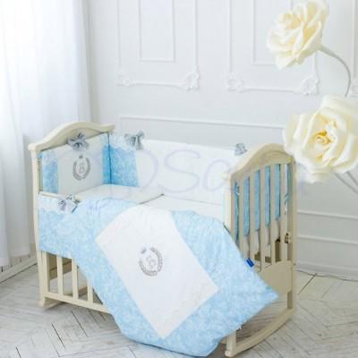 Комплект в детскую кроватку 6 предметов «De Lux» голубой