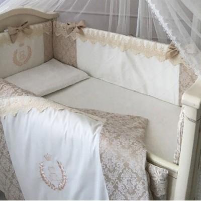 Комплект в детскую кроватку 6 предметов «De Lux» бежевый