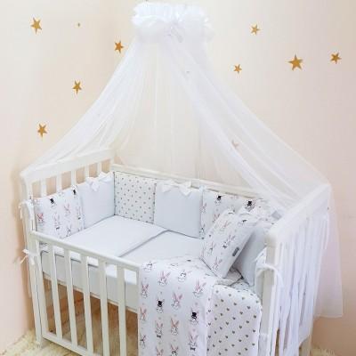 Комплект в кроватку с балдахином 7 предметов «Shine Алиса» белый