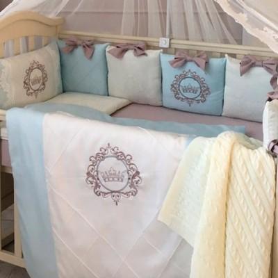 Комплект в детскую кроватку 6 предметов «Elegance» голубой