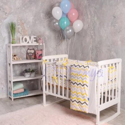 Комплект в детскую кроватку 6 предметов «Cеро-желтые зигзаги»