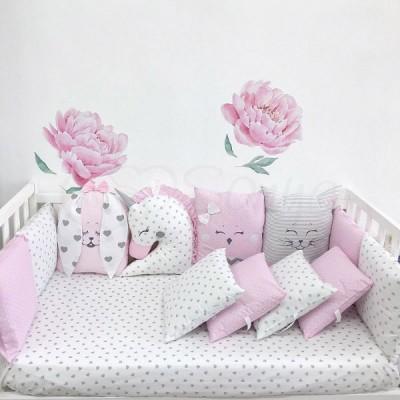 Комплект в детскую кроватку 6 предметов «Chudiki standart» розовый