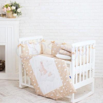 Комплект в детскую кроватку 6 предметов «Akvarel Бежевые зайки»