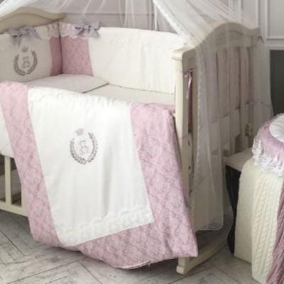 Комплект в детскую кроватку 6 предметов «De Lux» пыльная роза