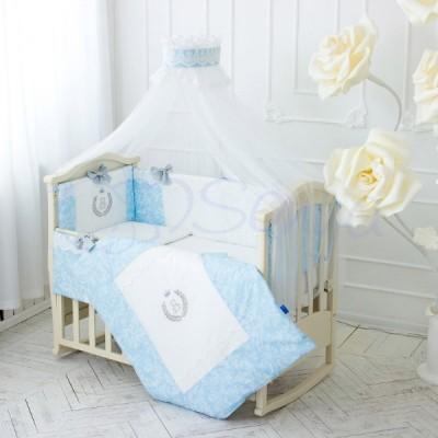 Комплект в кроватку с балдахином 7 предметов «De Lux» голубой