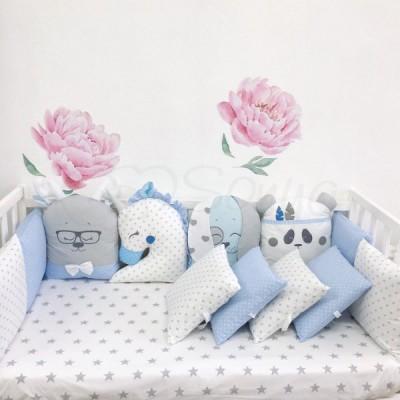 Комплект в детскую кроватку 6 предметов «Chudiki standart» голубой