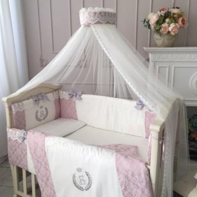 Комплект в кроватку с балдахином 7 предметов «De Lux» пыльная роза