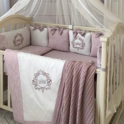 Комплект в детскую кроватку 6 предметов «Elegance» пыльная роза