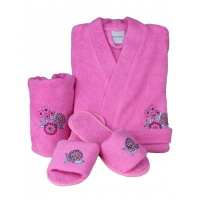 Комлект халат с полотенцем и тапочками «Melosa 2016» пудра | Karaca Home