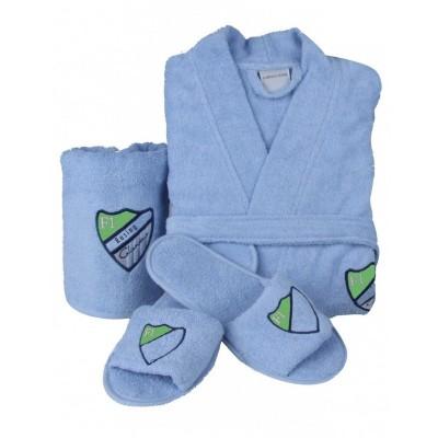 Комлект халат с полотенцем и тапочками «Formula 2016» голубой | Karaca Home