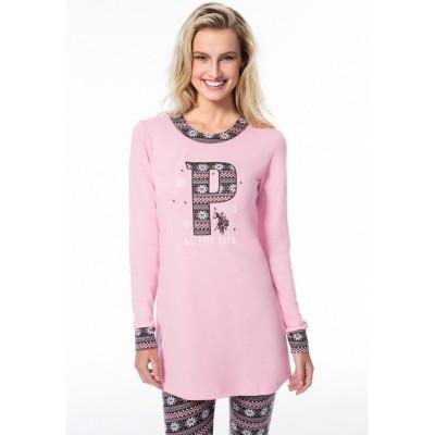 Пижама женская (длин.рукав) «15521» розовая | U.S. Polo Assn
