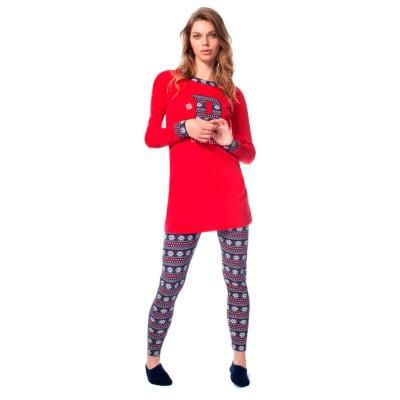 Пижама женская (длин.рукав) «15521» красная | U.S. Polo Assn