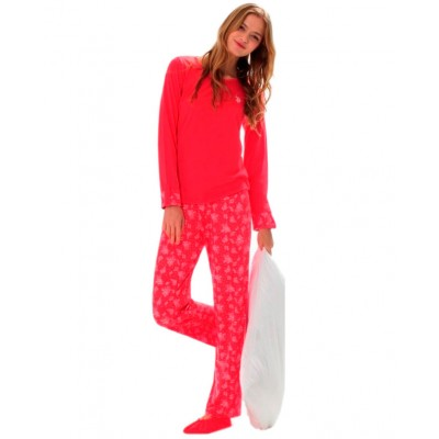 Пижама женская (длин.рукав) «15110 - L» коралловая | U.S. Polo Assn