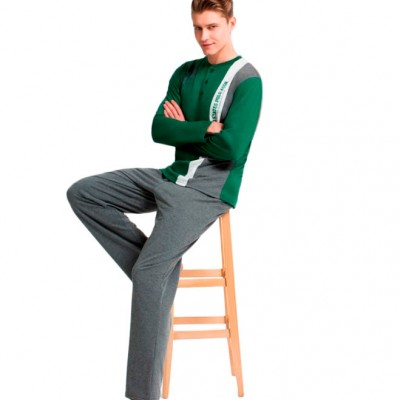 Пижама мужская (длин.рукав) «17132 - L» зеленая | U.S. Polo Assn