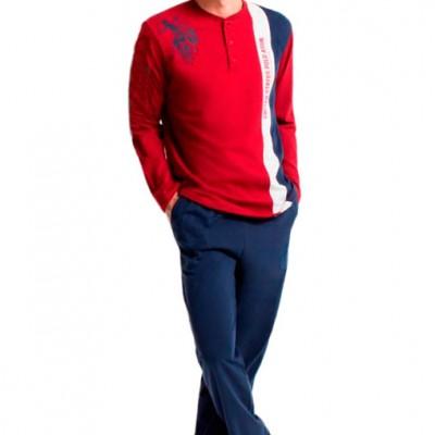 Пижама мужская (длин.рукав) «17132» бордовая  221c1a691229c
