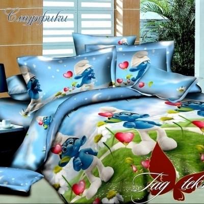 Комплект постельного белья ранфорс «Смурфики» полуторный | TAG