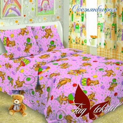 Комплект постельного белья ранфорс «Обезьянки роз.» полуторный | TAG