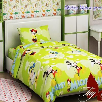 Комплект постельного белья ранфорс «Mickey Mouse green» полуторный | TAG