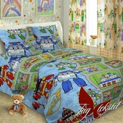 Комплект постельного белья ранфорс «Robocar Poli» полуторный | TAG