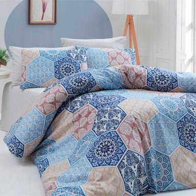 Комплект постельного белья ранфорс «Puzzle» синий Light House