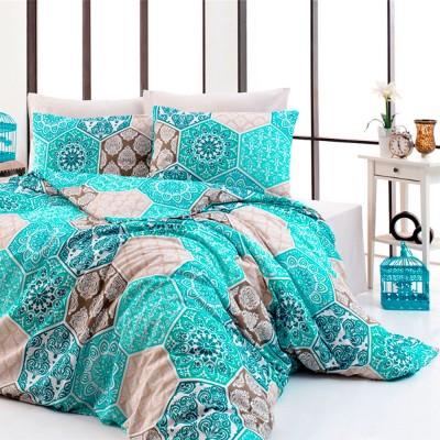Комплект постельного белья ранфорс «Puzzle» берюза Light House