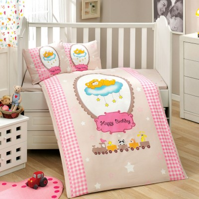Детский комплект постельного белья поплин «Bambam » розовый Hobby