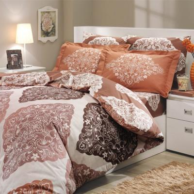 Комплект постельного белья поплин «Amanda» корич Hobby