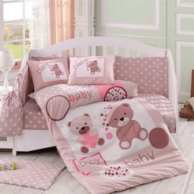 Детский комплект постельного белья поплин «Ponpon» бежевый Hobby