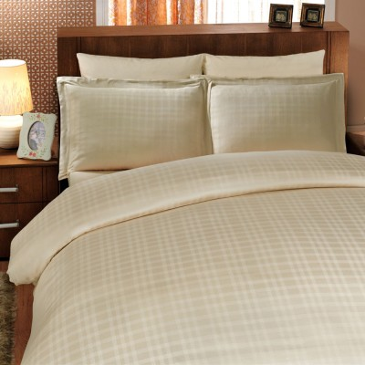 Комплект постельного белья сатин-жаккард «Diamond Ekose» крем Hobby
