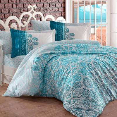 Комплект постельного белья поплин «Irene» евростандарт | берюза | Hobby