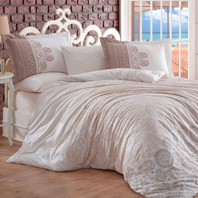 Комплект постельного белья поплин «Irene» евростандарт | бежевый | Hobby