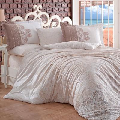 Комплект постельного белья поплин «Irene» полуторный | бежевый | Hobby