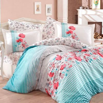 Комплект постельного белья поплин «Fiesta» евростандарт | голуб Hobby