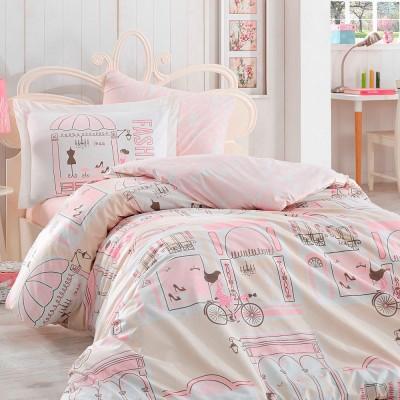 Комплект постельного белья поплин «Sonia» розовый Hobby