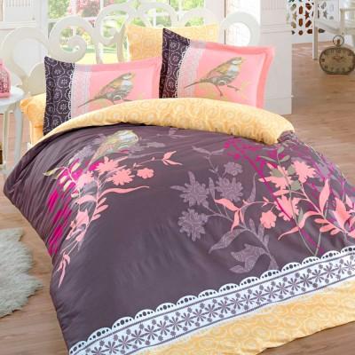 Комплект постельного белья сатин «Emilia» корич Hobby