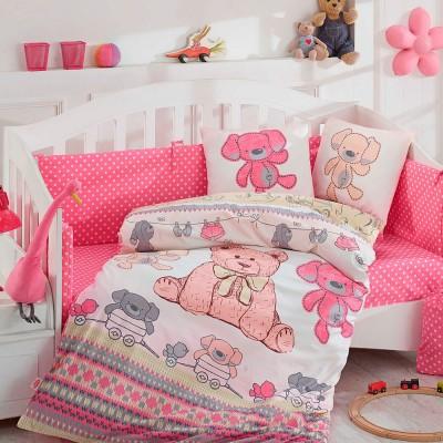 Детский комплект постельного белья поплин «Tombik» розовый Hobby