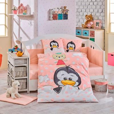 Детский комплект постельного белья поплин «Penguin» персик Hobby