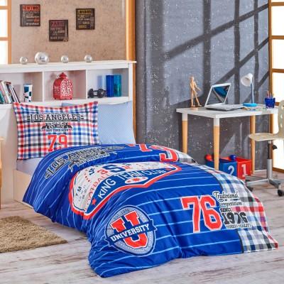 Комплект постельного белья поплин «College» синий Hobby