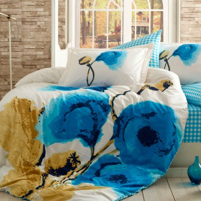 Комплект постельного белья поплин «Miray» голуб Hobby